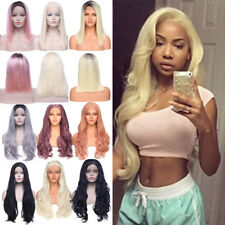 Long Wavy Curly Brown Pink Purple Blonde Full Wig 100% Lace Front Bob Wavy Hair