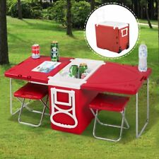 Outdoor Camping Furniture Multi Function Cooler Picnic Box Folding Table 2 Chair