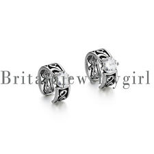 2pcs Punk CZ Huggie Hinged Hoop Earrings Non-piercing Clip on Earrings for Men