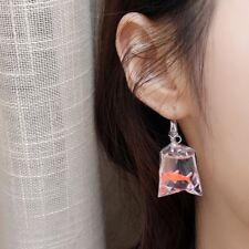 Personality Goldfish Water Bag Shaped Resin Eardrop Earrings Dangle Earrings