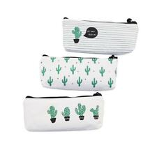 Pencil Case Cactus Canvas Lovely Stationery Pen Cosmetic Storage Organizer Pouch