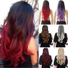 Ombre Brown Blonde Red Cosplay Full Wig Ladies Long Curly Wavy Straight Hair Rkm
