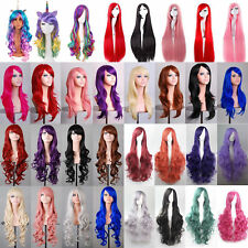 Cheap Colorful Long Cosplay Party Full Wig With Bangs Ombre Curly Wavy Hair Zsq2