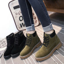 Women Suede Ankle Martin Boots Lace up High top Fur Lined Warm Casual Flat Shoes