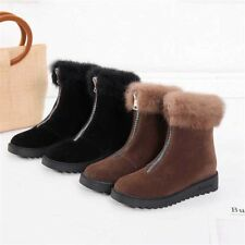 Womens Suede Warm Ankle Martin Boots Velvet Lined Casual Hidden Wedge Zip Shoes