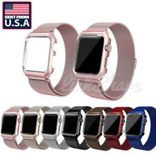 USA SHIP For Apple Watch 3/2/1 Milanese Stainless Steel Band Strap Watch+Case s
