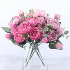 Peony Bouquet Fake Flower Artificial Silk Floral Bridal Party Home Wedding Rose