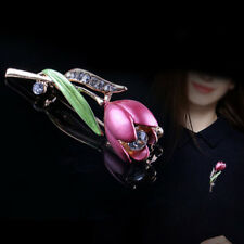 Elegant Tulip Flower Brooches Pins Crystal Costume Jewelry Clothes Accessories A