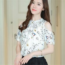 Women off shoulder Chiffon Shirt 2018 Summer Fashion Short Sleeve Casual Blouse