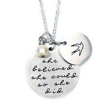 O.RIYA Oriya Stainless Steel She Believed She Could So She Did Necklace