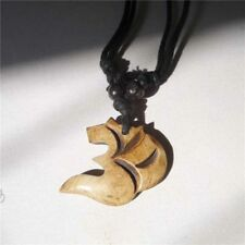 TNL293 Tibet Yak Bone Hand Carved OM Amulet with Adjustable Chain for Man