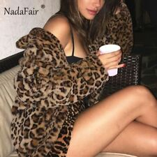 Nadafair Shaggy Winter Faux Fur Coat Female Streetwear Rabbit Hair Leopard Coat