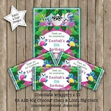 HATCHIMALS BIRTHDAY PARTY PERSONALISED CHOCOLATE WRAPPERS X 10