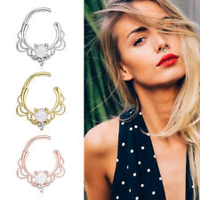 Fashion Fake Clip On Non Piercing Crystal Septum Nose Ring Faux Clicker Jewelry