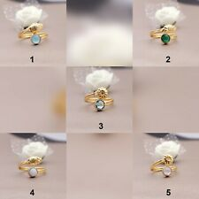 Agate Gemstone Adjustable Ring Gold Plated Rings Round Shape Jewelry (N-5432)