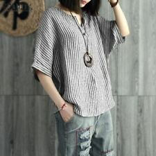 Women Summer Striped Blouse Casual V Neck Batwing Sleeve Shirt Loose Cotton Line