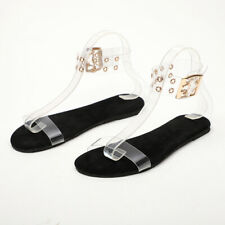 Womens Lady Summer Roman Beach Sandals Flat Gladiator Open Toe Transparent Shoes