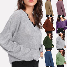 Womens Blouse Long Sleeve V Neck T Shirts Casual Tops Tunic Loose Fitted