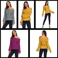Women's Knit Shirt Casual Sweater Pullover Knitted Loose Blouse T-Shirt