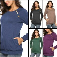 Solid Womens O Neck Shirt T-Shirt Blouse Top Pullover Loose Casual Long Sleeve
