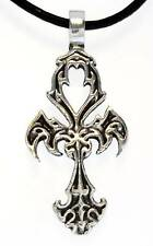 GOTHIC TRIBAL ANHK Silver Pewter Pendant Leather Surfer