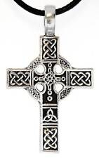 CELTIC CROSS Silver Pewter Pendant Leather CORD Surfer