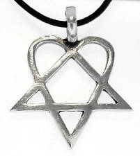 HIM HEARTAGRAM Silver Pewter Pendant Leather NECKLACE