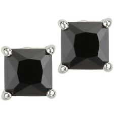 Black Square Princess Cut CZ Basket Set Sterling Silver Men Unisex Stud Earrings