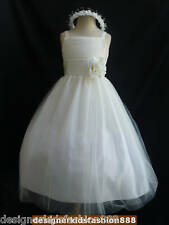 RB2 Ivory with ivory sash toddler teen tulle bridal party flower girl dresses