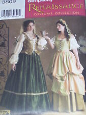 SIMPLICITY #3809-LADIES RENAISSANCE - WENCH GOWN - CORSET COSTUME PATTERN 4-20uc