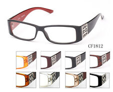 Retro Style Rectangle CLEAR Lens Black Brown Glasses IG CF1812