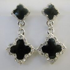 Four Leaf Crystal Clover Charm Silver Tone Plated Dangle Earrings