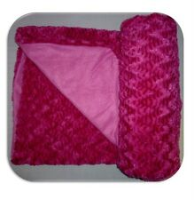 NEW PINK WAVE MINK BLANKET THROW LUXURY FAUX FUR FLEECE
