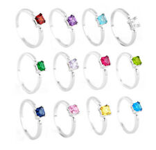 STERLING SILVER CHILDREN'S CHILD BIRTH MONTH CUBIC ZIRCONIA COLOR STONE RING
