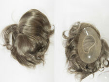 Med Length Blonde Grey Brunette Straight Hand Tied Monofilament Toupee 6.25X9