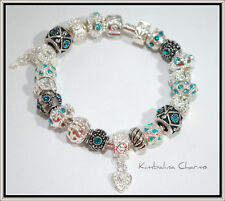 EUROPEAN STYLE CHARM BRACELET with BEADS  silver/blue
