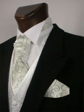 Green Scroll Wedding Scrunchie Cravat Mens and Boys