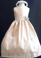 NEW CHAMPAGNE BABY FLOWER GIRL WEDDING PARTY DRESSES