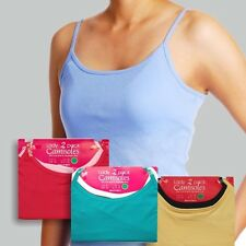 Women 2-Pack Stretch Camisoles Spaghetti Strap Cami Layering Shirt Tank Vest Top