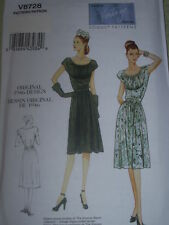 1946 (WWII) DESIGN ~ VOGUE #V8728 LADIES DRESS PATTERN