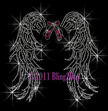 DANCE ANGEL WINGS RHINESTONE IRON ON TRANSFER SPORT MOM