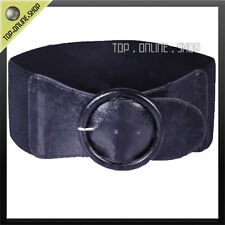 """24""""-50"""" Womens Classic Vintage Black Leather 4"""" Wide Stretch Belt Up to 5XL"""