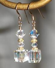 Crystal AB 14K Gold Filled Crystal Cube Earrings Made with Swarovski Elements
