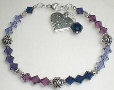 Sterling Silver Sister Heart Charm Birthstone Crystal Bracelet 77 Color Choices