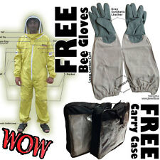 Yellow Beekeeping Animal Handling Pest Control Fence Veil Bee Suit & FREE Gloves