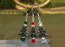 Christmas Crystal Tree Earrings Sterling Made with Swarovski Elements