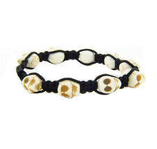 Skull Head Howlite Bead Charms Men Unisex Corded Bracelet Adjustable