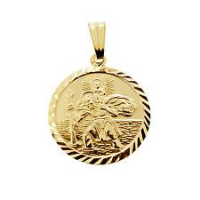 9ct Gold Plated Silver Diamond Cut St Christopher Pendant Engraved In Gift Box