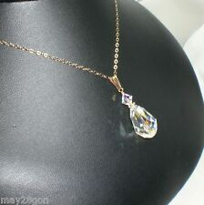 Crystal AB Large Teardrop Pendant Necklace 14K G.F. Made With Swarovski Elements