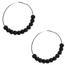 Crystal Round Bead Balls Basketball Wives Inspired Large Hoop Earrings 3.5""